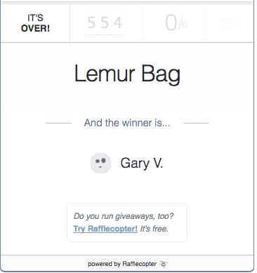 giveaway winner lemur bags